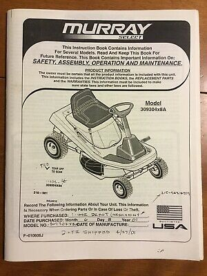 manual murray lawn tractor model 46576x92b owners manual